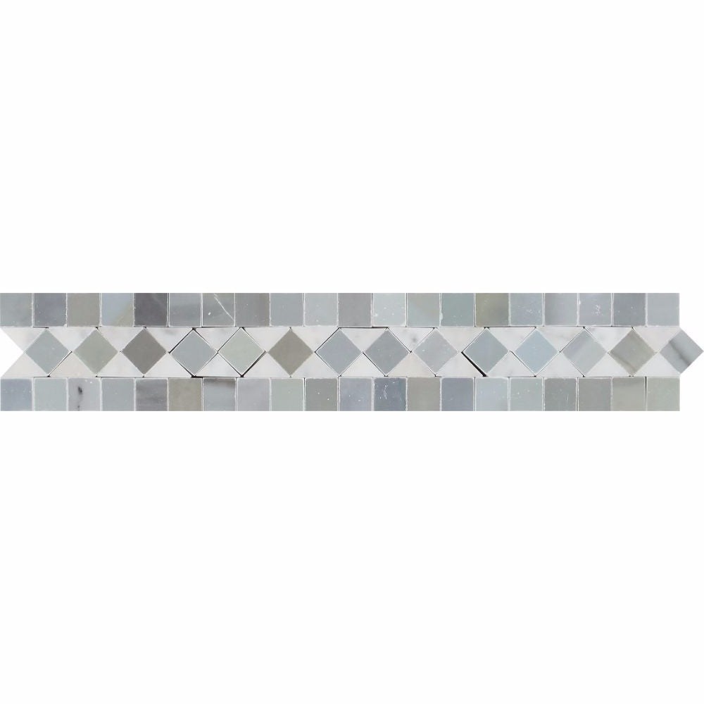 2 x 12 Honed Bianco Carrara Marble BIAS Border w/ Blue-Gray Dots Sample - Tilephile