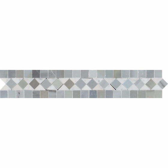 2 x 12 Honed Bianco Carrara Marble BIAS Border w/ Blue-Gray Dots