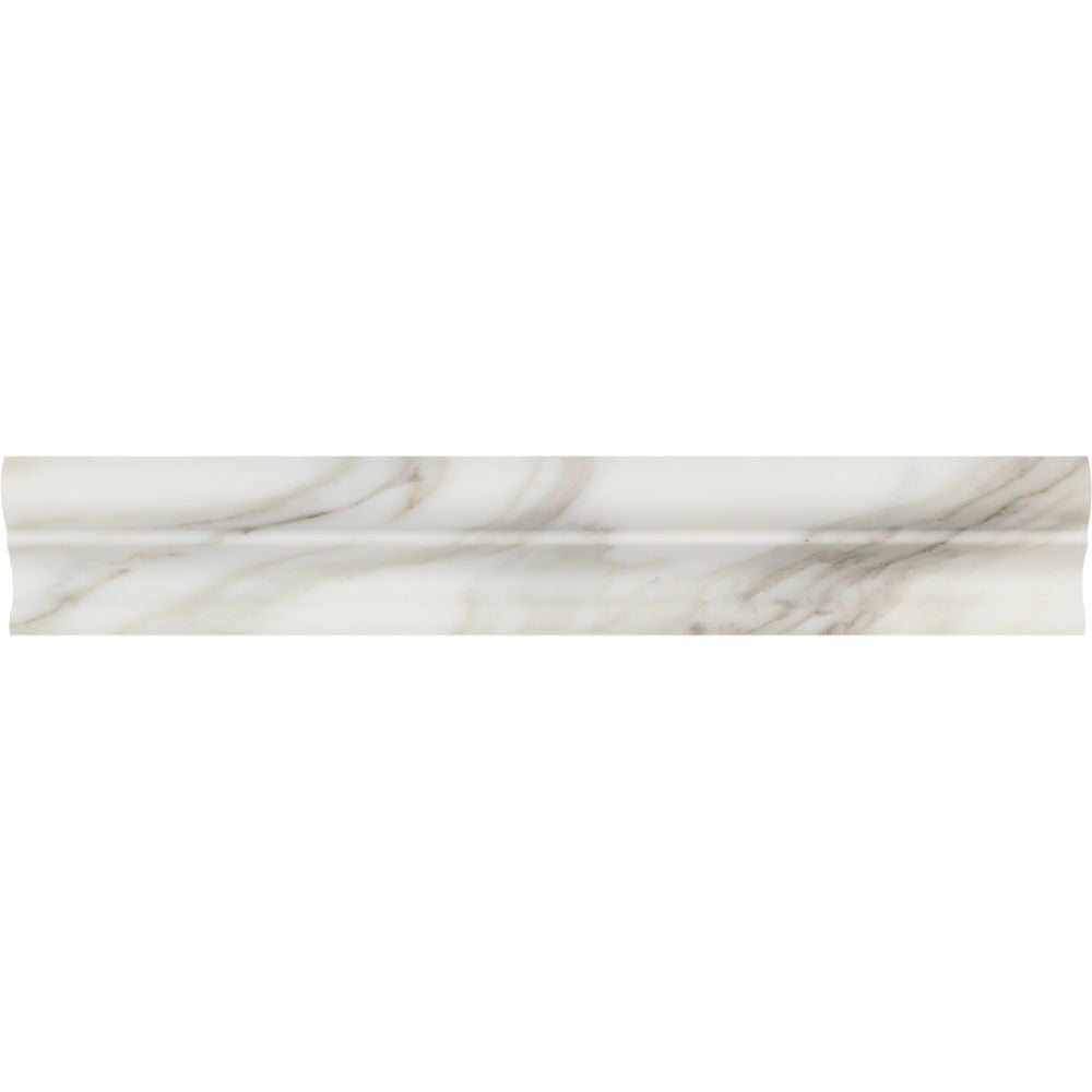2 x 12 Honed Calacatta Gold Marble Crown Molding Sample