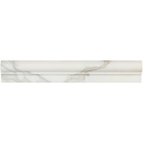 2 x 12 Honed Calacatta Gold Marble Single-Step Chair Rail - Tilephile