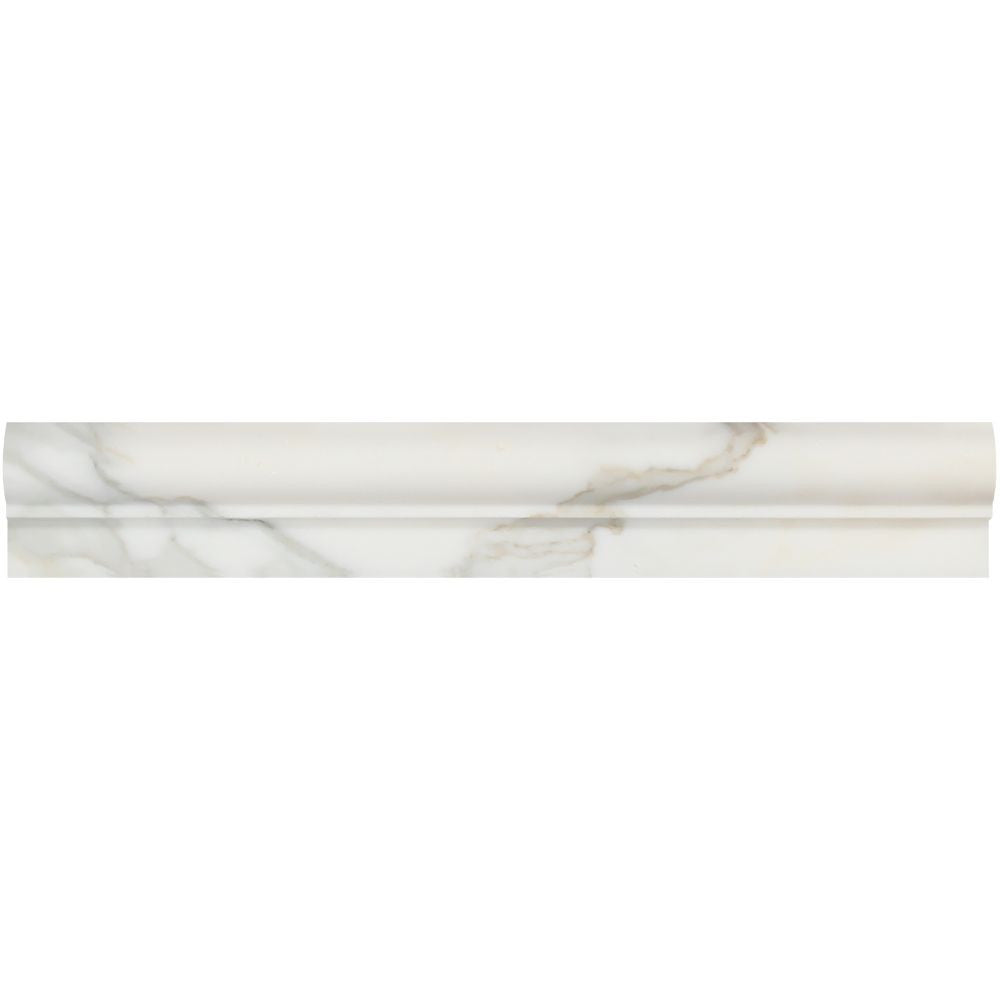 2 x 12 Polished Calacatta Gold Marble Single-Step Chair Rail Sample