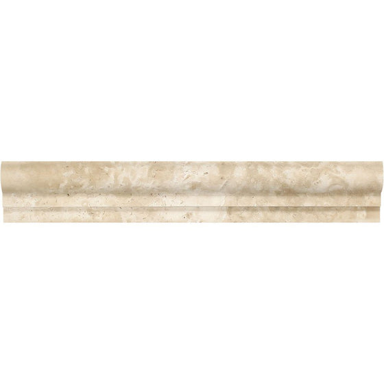 2 x 12 Honed Durango Travertine Single-Step Chair Rail Trim - Tilephile