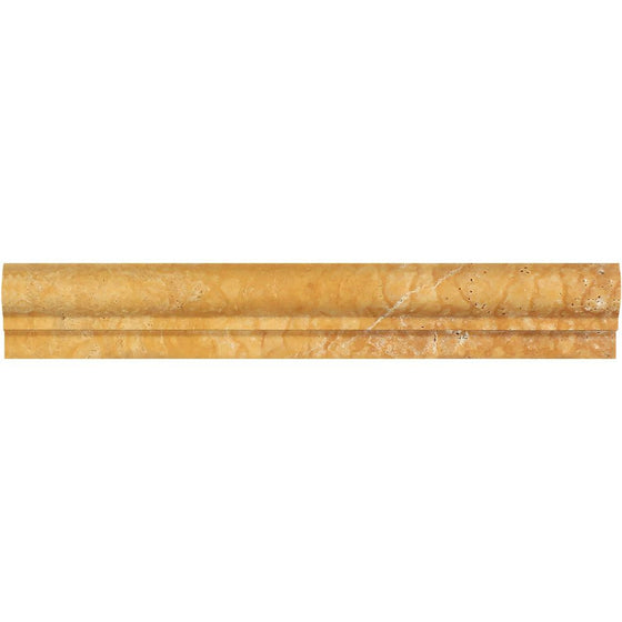 2 x 12 Honed Gold Travertine Single-Step Chair Rail Trim - Tilephile