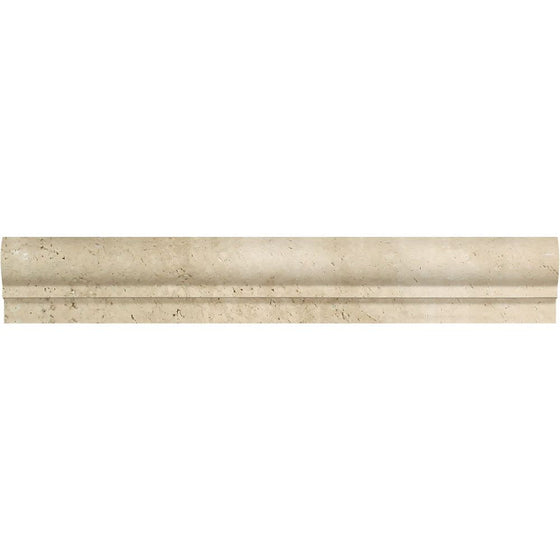 2 x 12 Honed Ivory Travertine Single-Step Chair Rail Trim - Tilephile