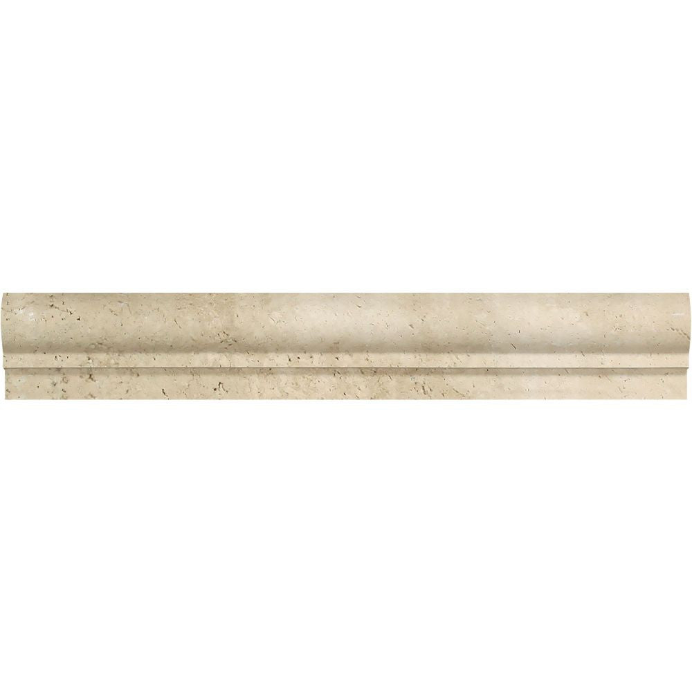2 x 12 Honed Ivory Travertine Single-Step Chair Rail Trim Sample - Tilephile