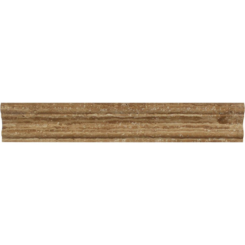2 x 12 Honed Noce Exotic (Vein-Cut) Travertine Crown Molding Sample - Tilephile
