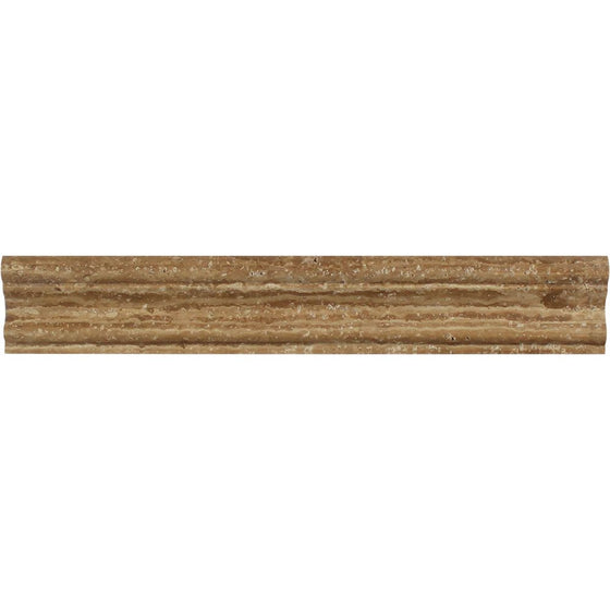 2 x 12 Honed Noce Exotic (Vein-Cut) Travertine Crown Molding - Tilephile