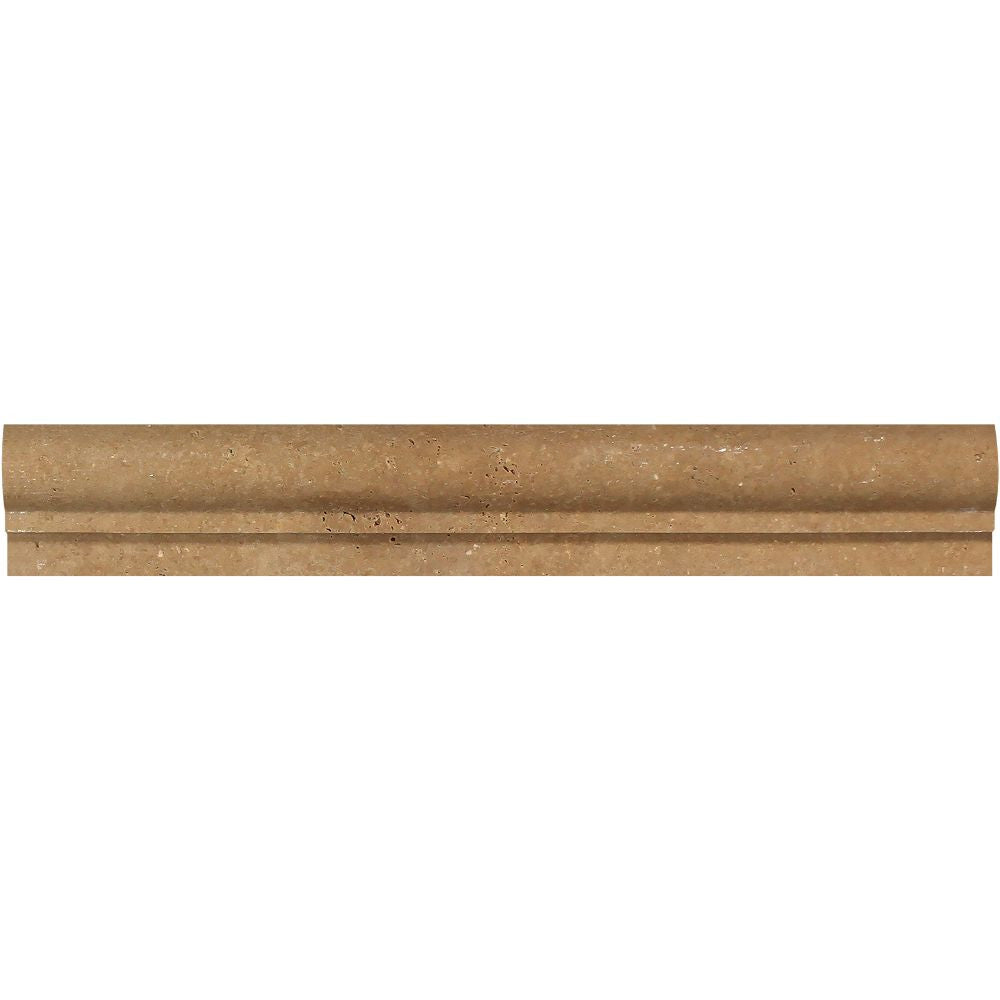 2 x 12 Honed Noce Travertine Single-Step Chair Rail Trim - Tilephile