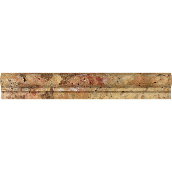 2 x 12 Honed Scabos Travertine Single-step Chair Rail Trim - Tilephile