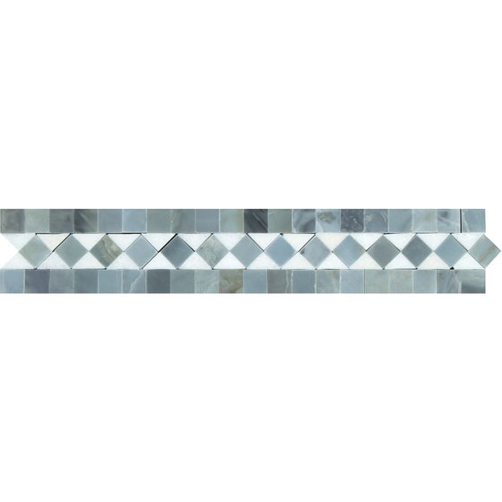 2 x 12 Honed Thassos White Marble BIAS Border w/ Blue-Gray Dots