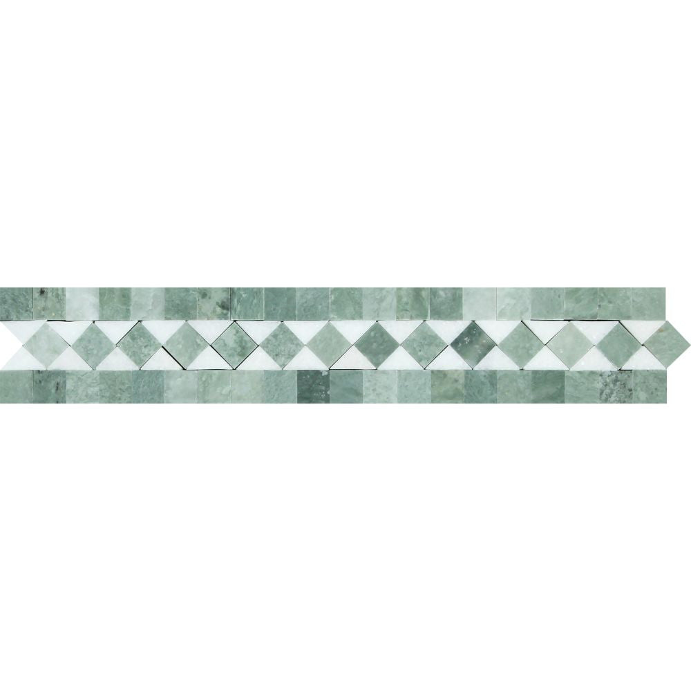 2 x 12 Honed Thassos White Marble BIAS Border w/ Ming Green Dots Sample - Tilephile