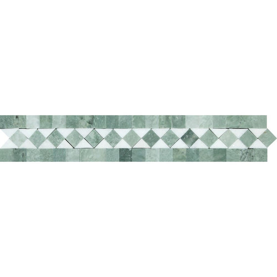 2 x 12 Honed Thassos White Marble BIAS Border w/ Ming Green Dots