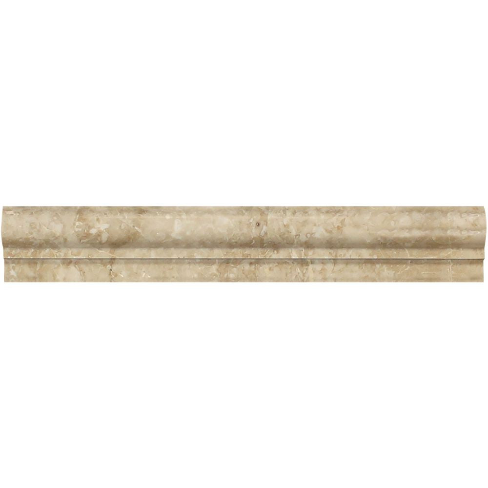 2 x 12 Polished Cappuccino Marble Single-Step Chair Rail Trim - Tilephile