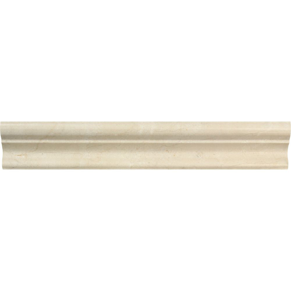 2 x 12 Polished Crema Marfil Marble Crown Molding Sample - Tilephile