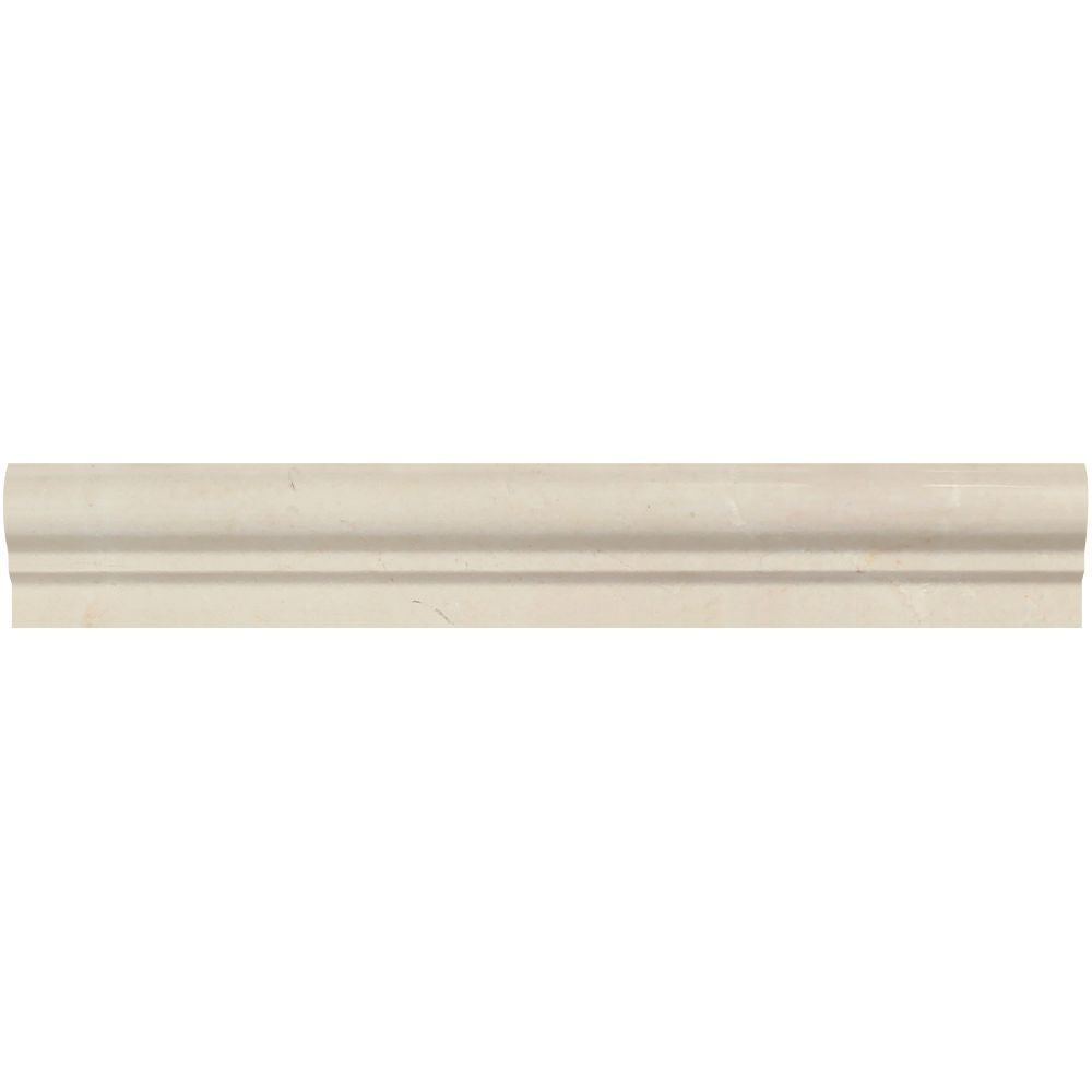 2 x 12 Polished Crema Marfil Marble Single-Step Chair Rail Trim Sample - Tilephile