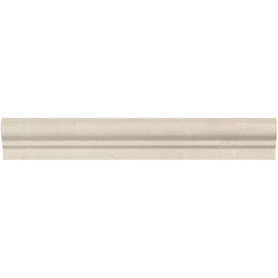 2 x 12 Polished Crema Marfil Marble Single-Step Chair Rail Trim