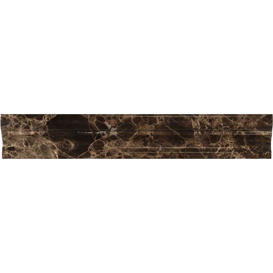 2 x 12 Polished Emperador Dark Marble Crown Molding