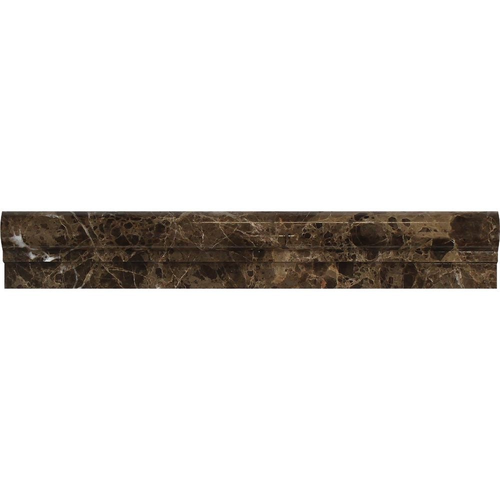 2 x 12 Polished Emperador Dark Marble Single-Step Chair Rail Trim Sample - Tilephile