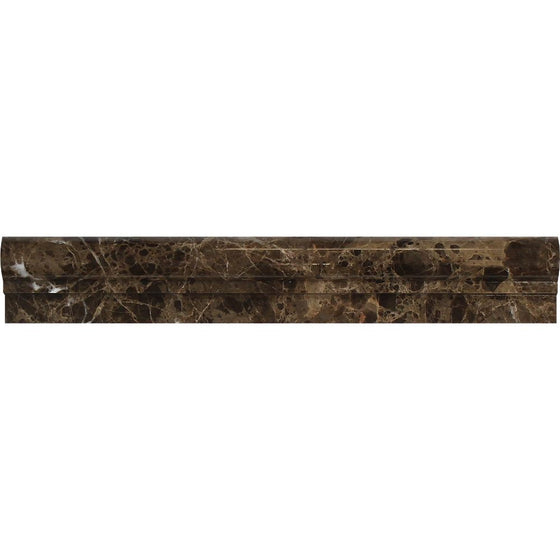 2 x 12 Polished Emperador Dark Marble Single-Step Chair Rail Trim