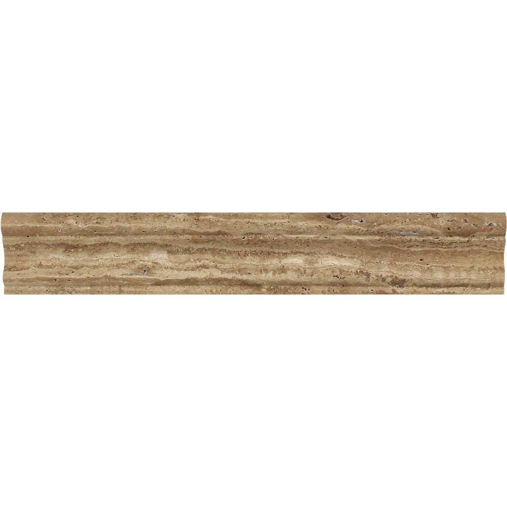 2 x 12 Polished Noce Exotic (Vein-Cut) Travertine Crown Molding - Tilephile