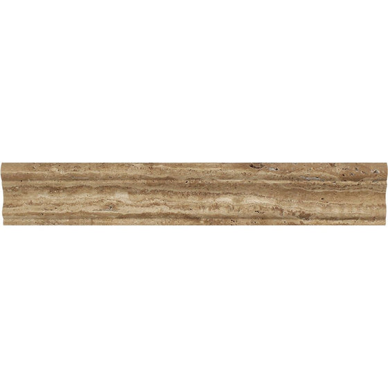 2 x 12 Polished Noce Exotic (Vein-Cut) Travertine Crown Molding