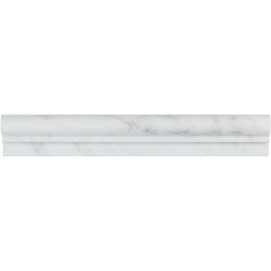 2 x 12 Polished Oriental White Marble Single-Step Chair Rail Trim - Tilephile