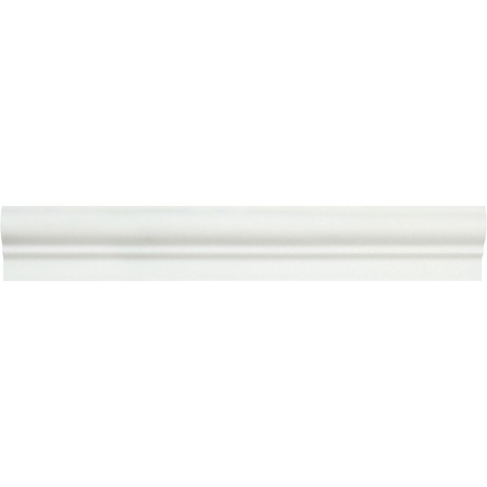 2 x 12 Polished Thassos White Marble Single-Step Chair Rail Trim Sample - Tilephile