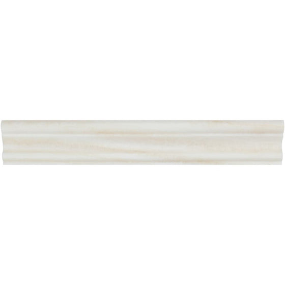 2 x 12 Polished White Onyx Single-Step Chair Rail Trim - Tilephile
