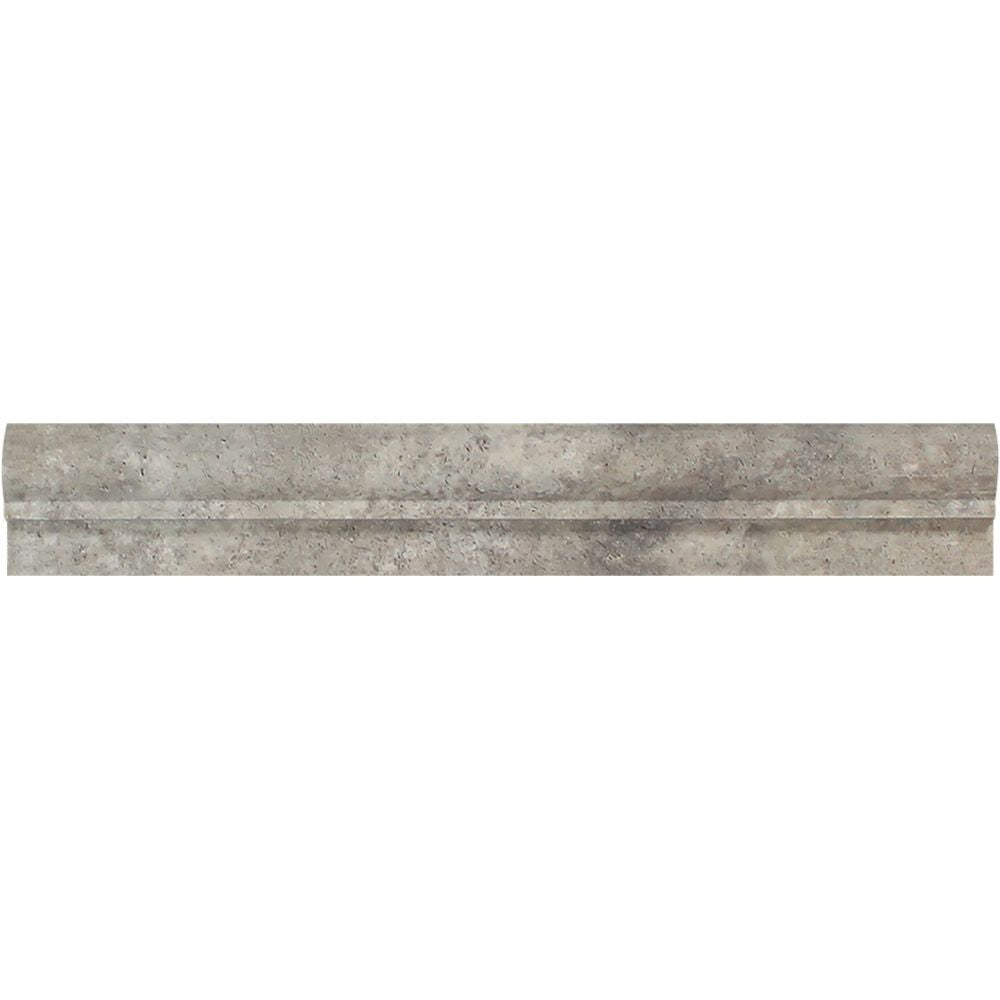 2 x 12 Tumbled Silver Travertine Single-Step Chair Rail Trim Sample - Tilephile