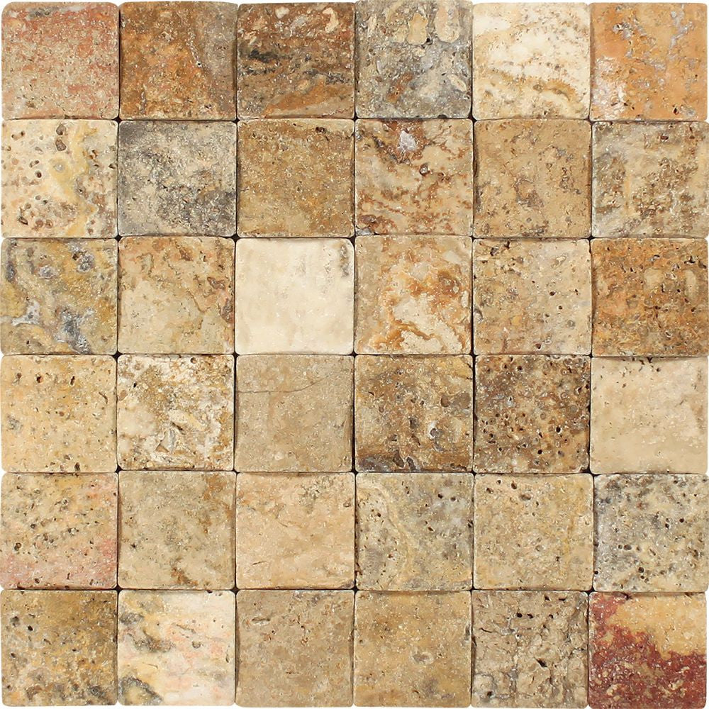 2 x 2 CNC-Arched & Tumbled Scabos Travertine Mosaic Tile Sample - Tilephile