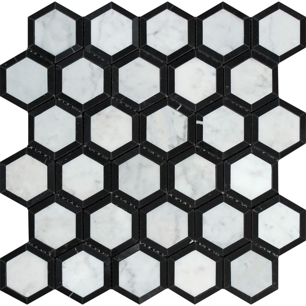2 x 2 Honed Bianco Carrara Marble Vortex Hexagon Mosaic Tile (w/ Black) Sample