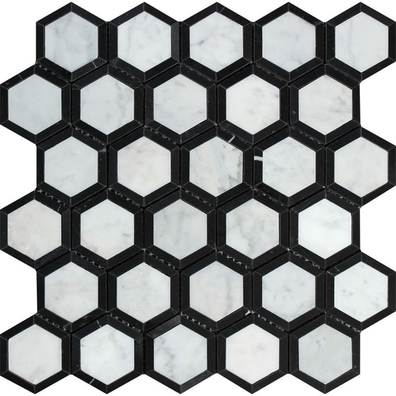 2 x 2 Honed Bianco Carrara Marble Vortex Hexagon Mosaic Tile (w/ Black)