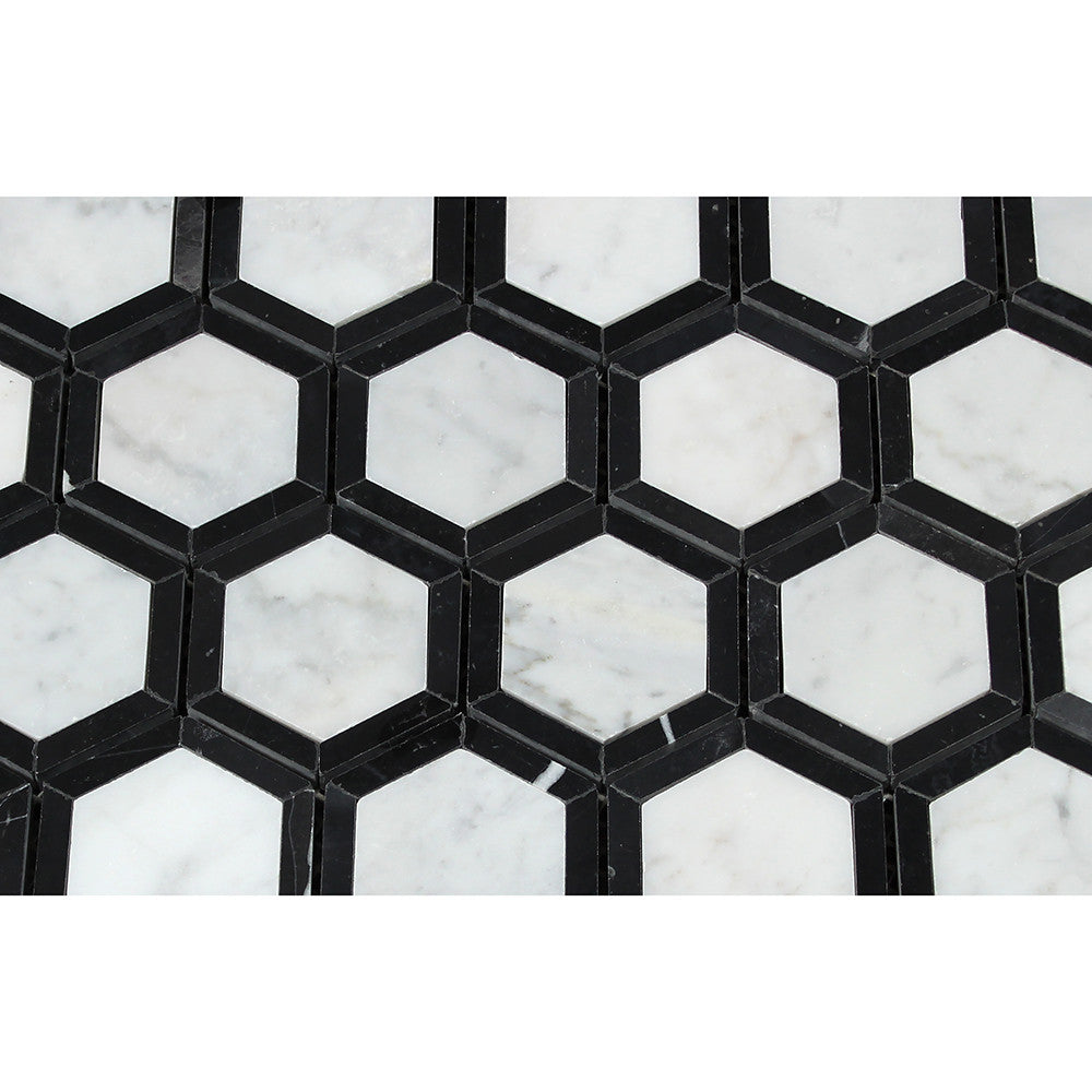2 x 2 Honed Bianco Carrara Marble Vortex Hexagon Mosaic Tile (w/ Black) - Tilephile