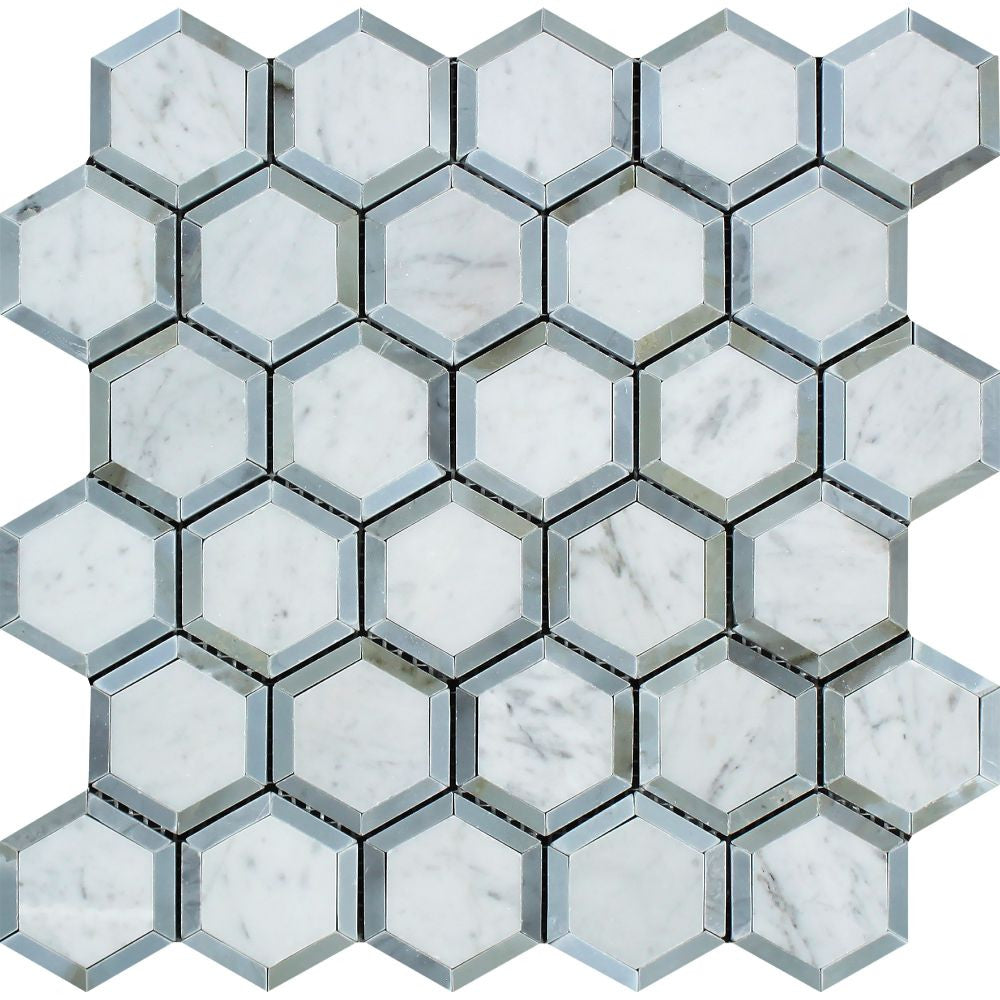 2 x 2 Honed Bianco Carrara Marble Vortex Hexagon Mosaic Tile (w/ Blue-Gray) - Tilephile