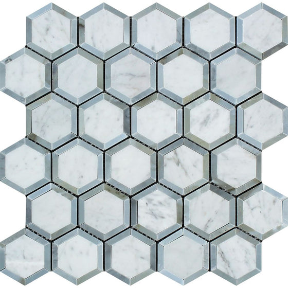 2 x 2 Honed Bianco Carrara Marble Vortex Hexagon Mosaic Tile (w/ Blue-Gray)