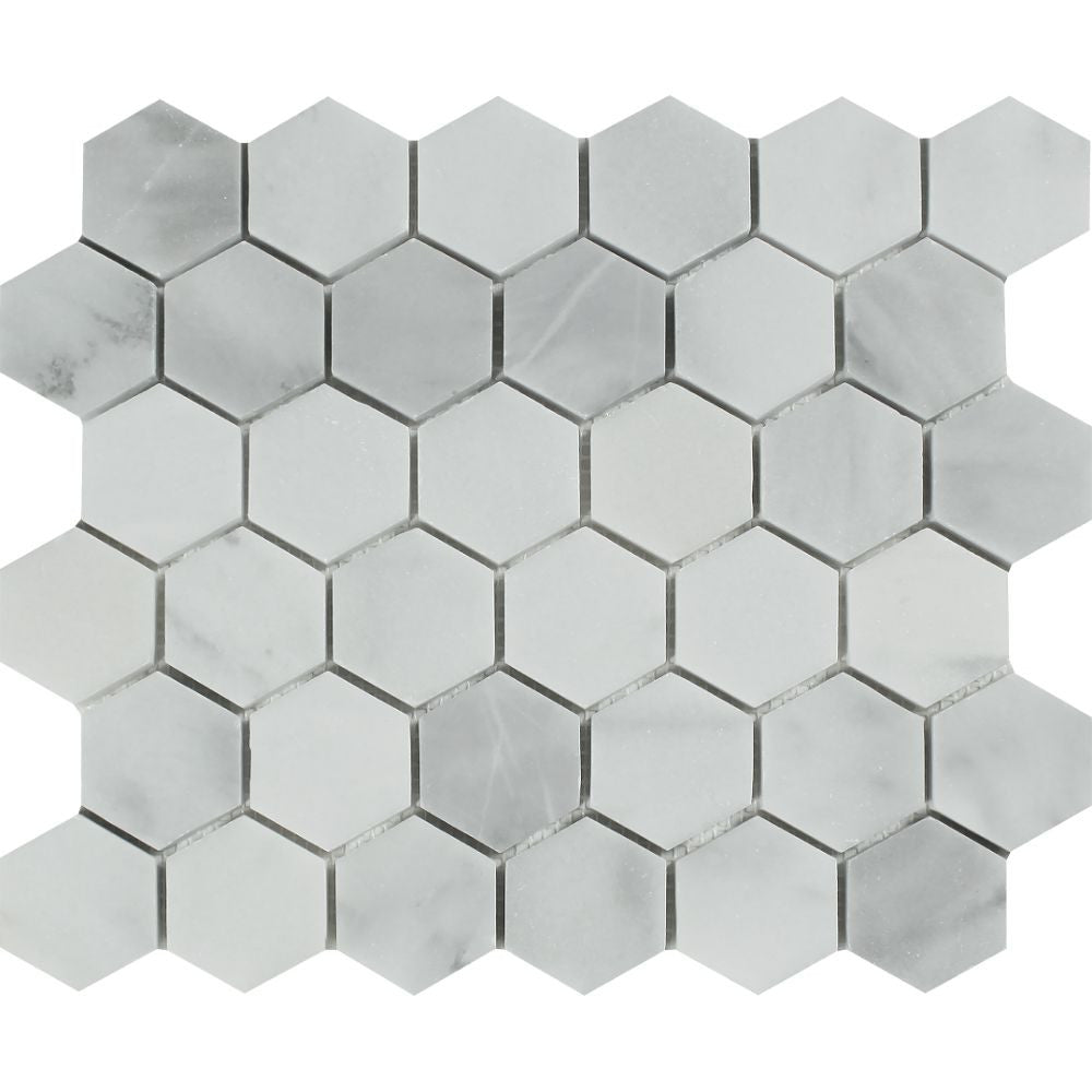 2 x 2 Honed Bianco Mare Marble Hexagon Mosaic Tile Sample - Tilephile
