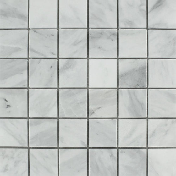 2 x 2 Honed Bianco Mare Marble Mosaic Tile
