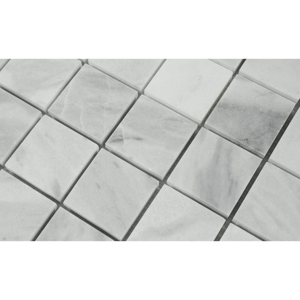 2 x 2 Honed Bianco Mare Marble Mosaic Tile - Tilephile