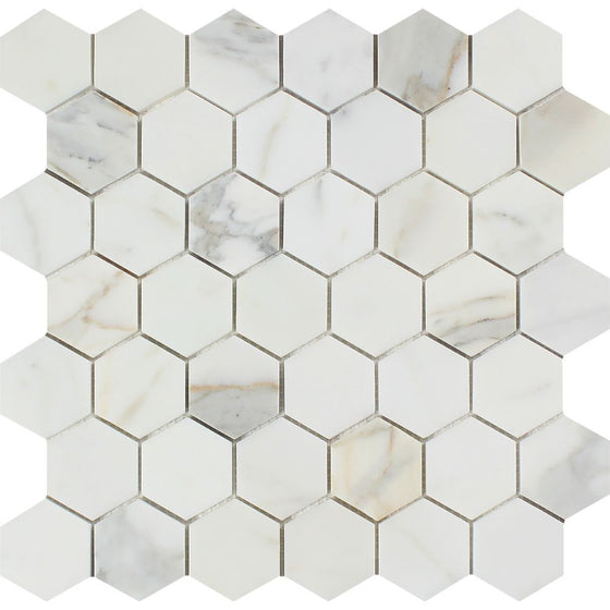 2 x 2 Honed Calacatta Gold Marble Hexagon Mosaic Tile - Tilephile