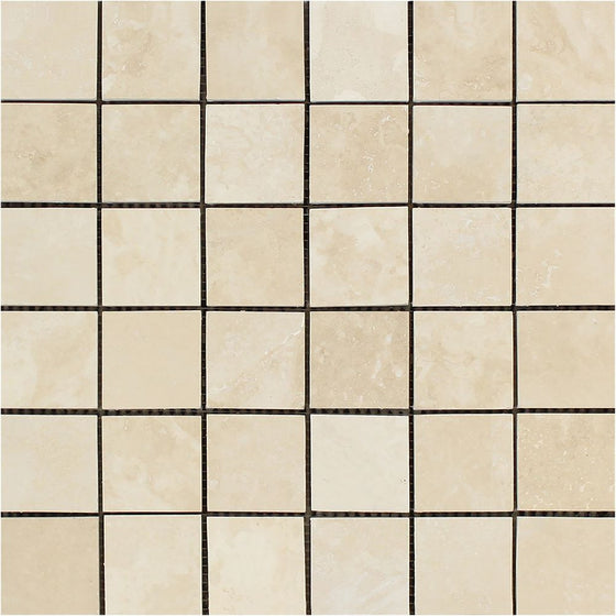 2 x 2 Honed Ivory Travertine Mosaic Tile - Tilephile