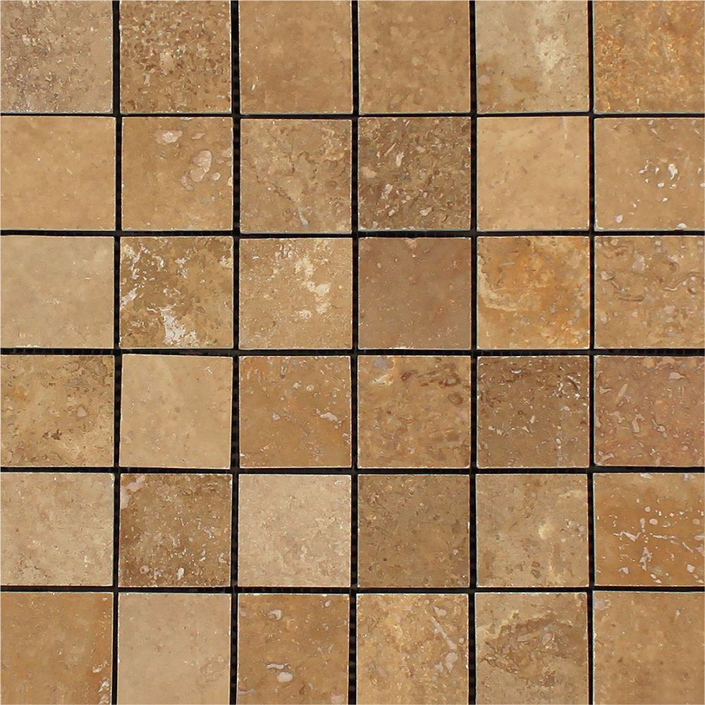 2 x 2 Honed Noce Travertine Mosaic Tile Sample - Tilephile