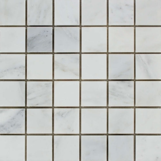 2 x 2 Honed Oriental White Marble Mosaic Tile