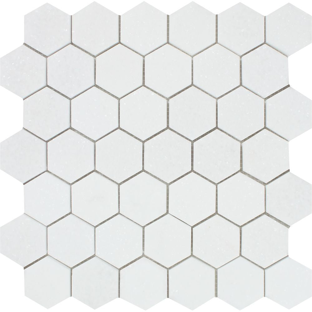 2 x 2 Honed Thassos White Marble Hexagon Mosaic Tile Sample - Tilephile