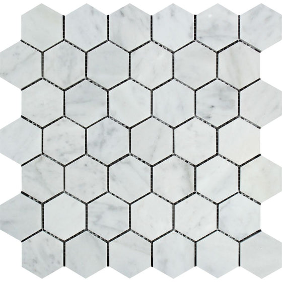 2 x 2 Polished Bianco Carrara Marble Hexagon Mosaic Tile