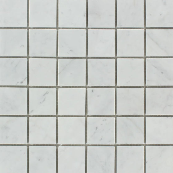 2 x 2 Polished Bianco Carrara Marble Mosaic Tile