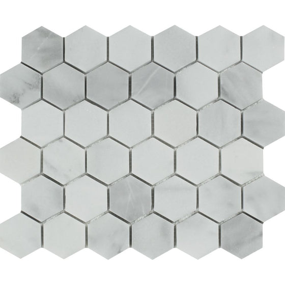 2 x 2 Polished Bianco Mare Marble Hexagon Mosaic Tile