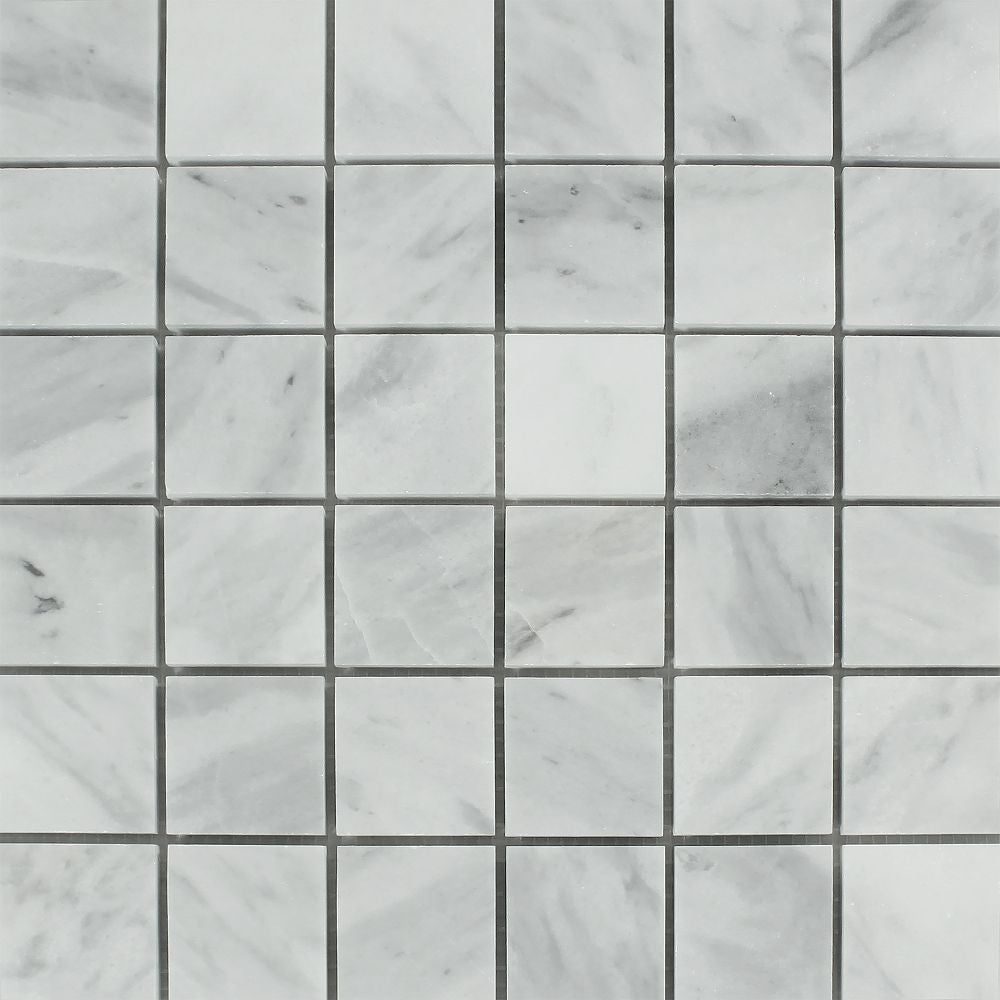 2 x 2 Polished Bianco Mare Marble Mosaic Tile - Tilephile