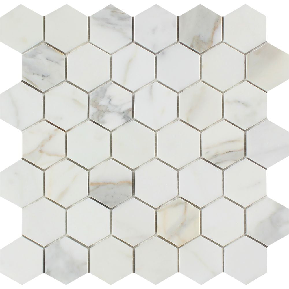 2 x 2 Polished Calacatta Gold Marble Hexagon Mosaic Tile Sample - Tilephile