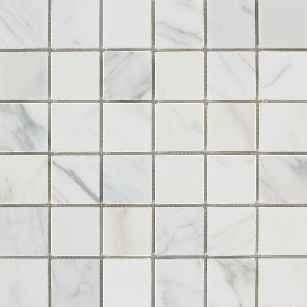 2 x 2 Polished Calacatta Gold Marble Mosaic Tile Sample