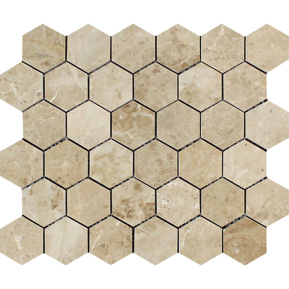 2 x 2 Polished Cappuccino Marble Hexagon Mosaic Tile - Tilephile